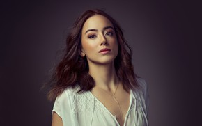 Picture look, girl, face, portrait, makeup, chain, beautiful, Chloe Bennet