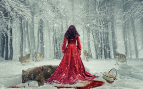 Picture winter, forest, snow, basket, blood, wolf, Girl, pack, dress