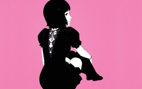 Picture haircut, brunette, black dress, pink background, from the back, Ilya Kuvshinov