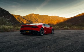 Picture mountains, red, rear view, Lamborghini Huracan