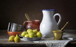 Picture the dark background, table, dishes, pitcher, still life, items, composition, mortar, figs, ceramics