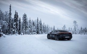Picture winter, road, forest, snow, black, Porsche, 2020, Taycan, Taycan 4S