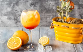 Wallpaper ice, cocktail, citrus