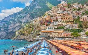 Picture sea, beach, home, Italy, Amalfi, Positano
