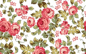 Picture flowers, retro, background, pattern, roses, texture, pattern, seamless