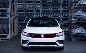 Picture white, Volkswagen, sedan, front view, 2018, four-door, Passat GT