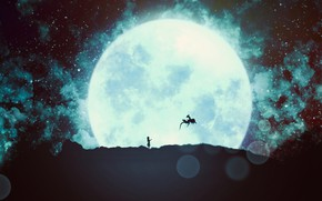 Picture girl, the moon, dragon, fantasy