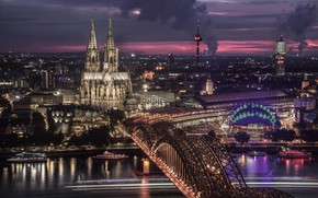 Picture night, bridge, the city, lights, Germany, Cathedral, tower, architecture, pond, Cologne, Cologne