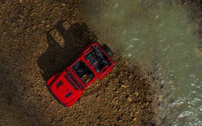 Picture red, shore, shadow, the view from the top, 2018, Jeep, Wrangler Rubicon