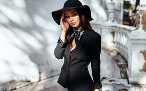 Picture look, girl, pose, model, portrait, hat, makeup, figure, hairstyle, brown hair, is, beautiful, jacket, shawl, …
