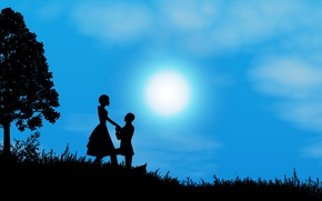 Picture night, the moon, romance, pair, silhouettes, date