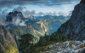Picture the sky, clouds, trees, mountains, nature, rocks