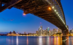 Picture bridge, building, home, Australia, Bay, Sydney, night city, skyscrapers, Australia, Sydney, Sydney Opera House, Sydney …