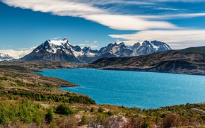 Picture mountains, lake, Andes, Patagonia