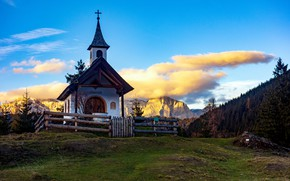 Picture sunset, mountains, chapel