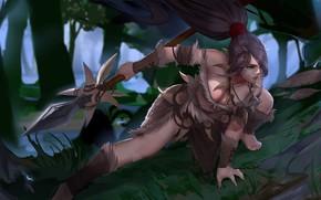 Wallpaper forest, girl, hunting, Spear