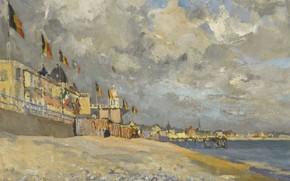 Picture landscape, picture, 1915, The beach at Sainte-Adresse, Paul Mathieu, Paul Mathieu