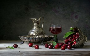 Picture cherry, drink, pitcher, still life, wood, infusion
