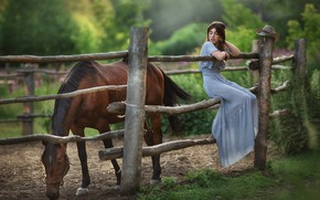 Picture look, girl, nature, horse, dress, Anastasia Barmina
