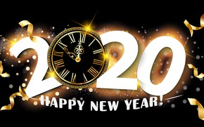 Picture arrows, New year, dial, the dark background, 2020