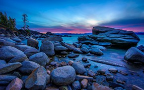 Picture landscape, sunset, nature, lake, stones, shore, CA, USA, twilight, Tahoe, Lake Tahoe