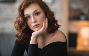 Picture girl, portrait, makeup, brown hair, curls, manicure, Vladimir Vasiliev
