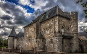 Picture the sky, clouds, castle, HDR, Belgium, Raeren