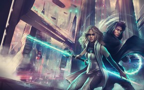 Picture girl, the city, future, sword, skyscrapers, art, guy, lightsaber