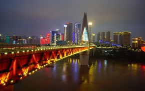 Picture night, bridge, lights, river, China, home, Chongqing