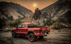 Picture road, mountains, Toyota Tacoma
