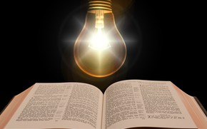 Picture light bulb, light, text, book, The Bible