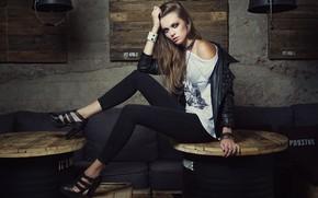 Picture look, girl, pose, feet, Alexey Shishkin, Maria Dzvinkaitė