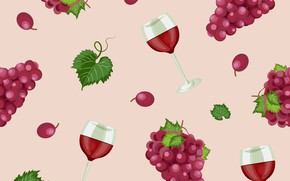 Picture background, glasses, grapes, seamless
