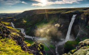 Picture the sky, the sun, clouds, river, stones, rocks, waterfall, Iceland, Haifoss, Хауифосс