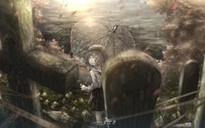 Picture cross, umbrella, girl, nadgrobiya, Hatoba Tsugu