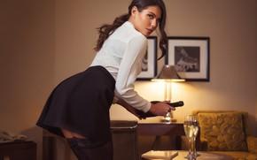 Picture girl, pose, skirt, blouse, champagne, glasses, Nicolas Verano, Nikolas Verano, Katerina Sozinova