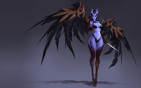 Picture wings, the demon, fantasy, art, horns, SERGEI SOROCHKIN, wip queen of pain