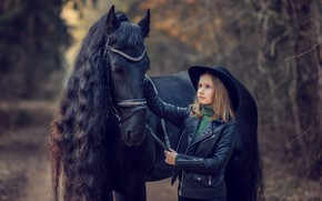 Picture nature, animal, horse, horse, hat, jacket, girl, child, Victoria Dubrovskaya