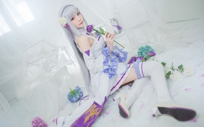 Wallpaper white, purple, look, girl, flowers, face, pose, room, lilac, feet, tenderness, rose, interior, stockings, hands, ...
