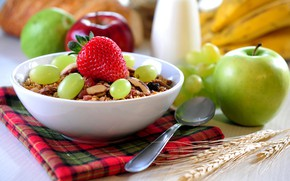 Picture granola, milk, oatmeal, berries, Apple, nuts, Breakfast, grapes, strawberry