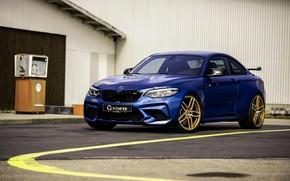 Picture asphalt, blue, BMW, G-Power, F87, M2, 2019, M2 Competition, G2M Bi-Turbo