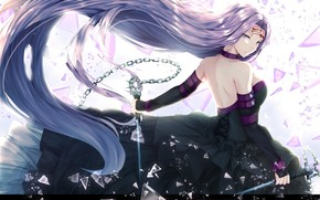 Picture girl, anime, art, Ryder, fate stay night, rider
