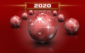 Picture stars, red, balls, Shine, New Year, rojdestvo, New 2020, red balls reflection, New Year 2020