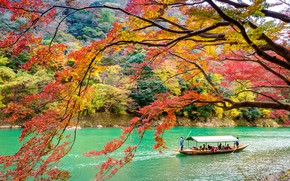 Picture autumn, leaves, trees, Park, Japan, Kyoto, nature, park, autumn, lake, leaves, tree, Arashiyama
