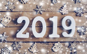 Picture winter, snowflakes, tree, Board, New Year, figures, new year, wood, winter, background, snowflakes, decoration, 2019