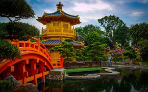Picture trees, bridge, pond, Park, Hong Kong, garden, pagoda, Hong Kong, Chi Lin Nunnery, The Monastery …