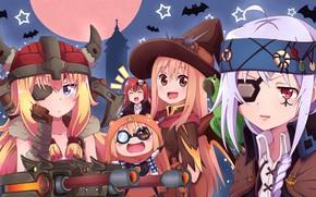 Picture girls, bats, costumes, Halloween