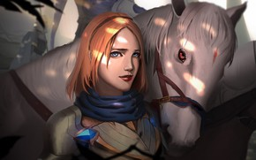 Picture girl, horse, red, League of Legends, League Of Legends