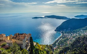 Picture sea, the city, coast, France, home, panorama, France, Cote d'azur, French Riviera, The Mediterranean sea, …