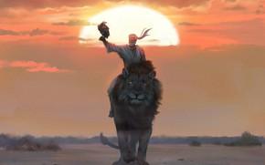 Picture fantasy, sunset, lion, sun, man, eagle, artist, digital art, artwork, fantasy art, orange eyes, white …